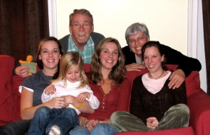 Christmas with our 3 daughters and granddaughter