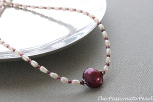 Burgundy Pearl and White Pearl Necklace, Garnet Necklace