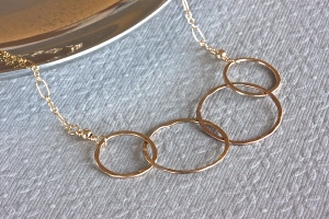 14K Gold Filled 4 Ring Family Necklace
